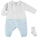 Emile et Rose Langley Traditional Baby Boys Babygrow With Socks-Blue