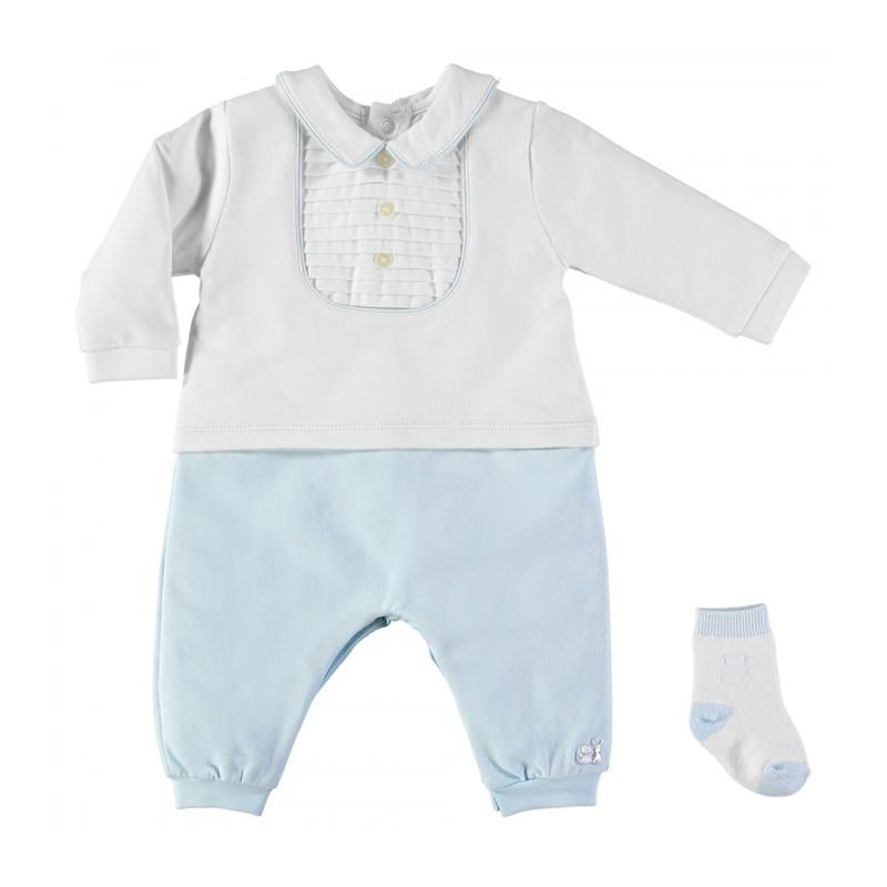 Emile et Rose Langley Traditional Baby Boys Babygrow With Socks-Blue
