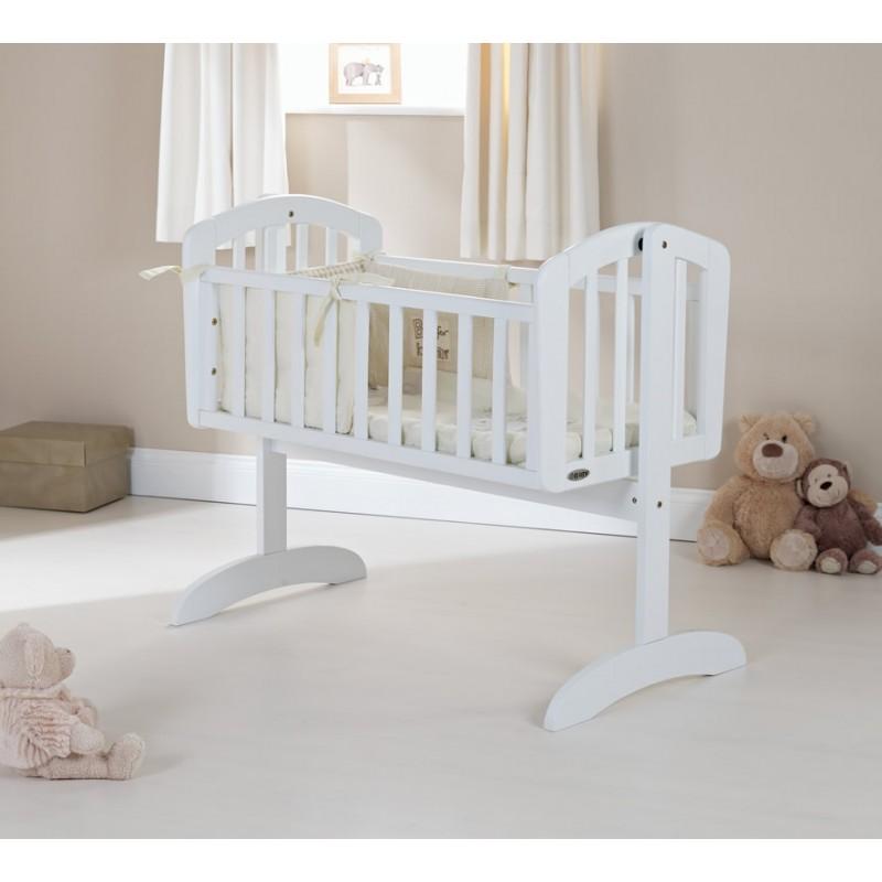 low cost 7a029 a44b1 OBaby Sophie Swinging Crib-White | Kiddies Kingdom