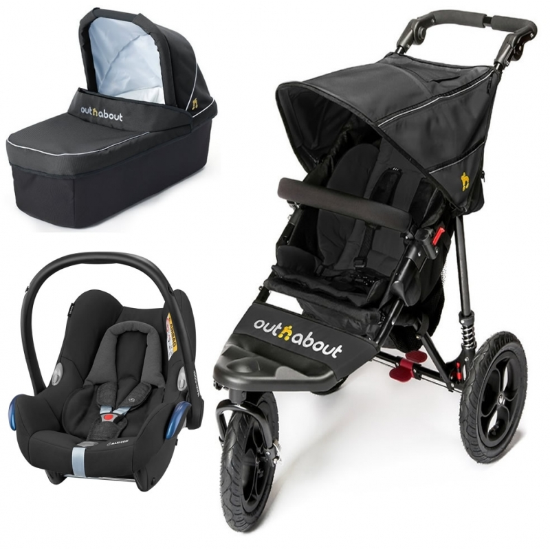 Out n About Nipper Single 360 V4 3in1 Travel System-Raven Black