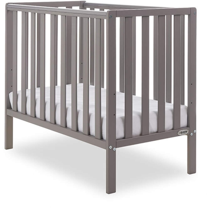 Obaby Bantam Space Saver Cot + Foam Mattress-Taupe Grey