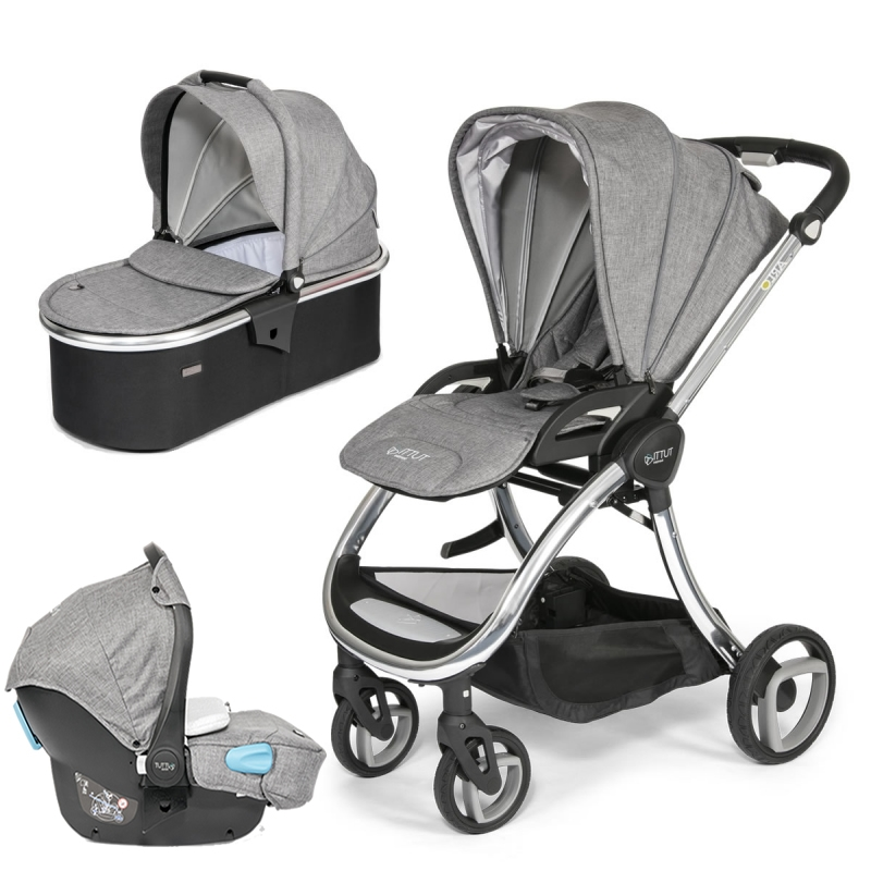 Tutti Bambini Arlo Chrome 3in1 Travel System-Charcoal (New 2018) + FREE Comfort pack worth £85!