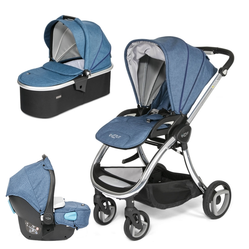 Tutti Bambini Arlo Chrome 3in1 Travel System-Midnight Blue (New 2018) + FREE Comfort pack worth £85!