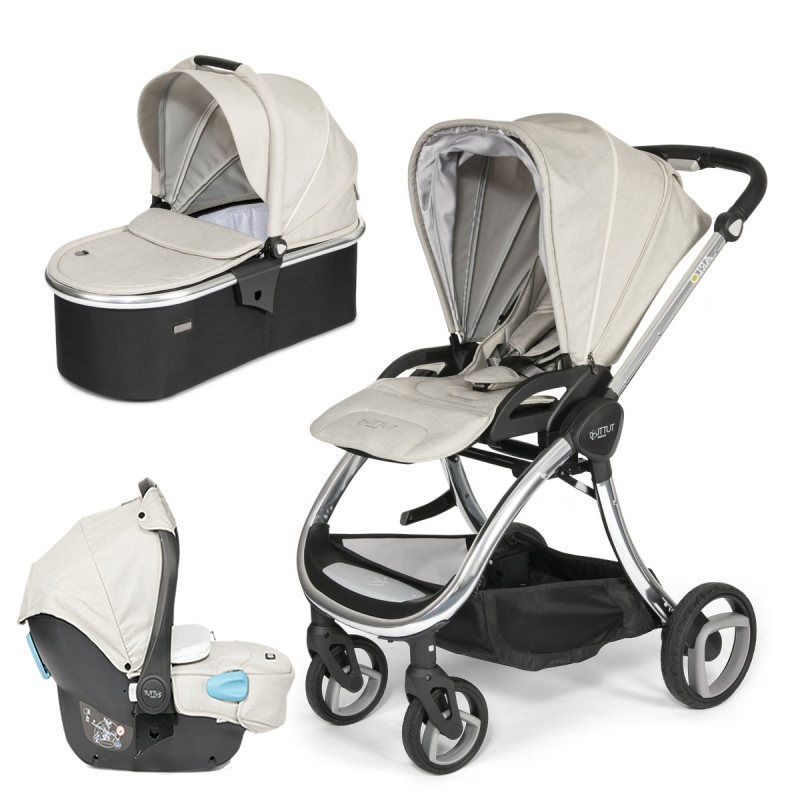 Tutti Bambini Arlo Chrome 3in1 Travel System-Oatmeal (New 2018) + FREE Comfort pack worth £85!