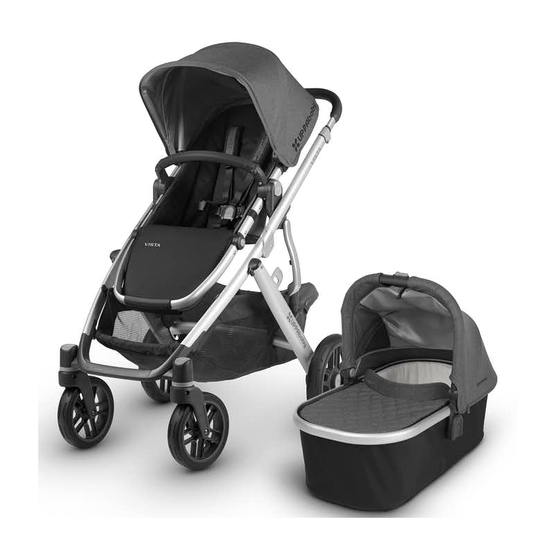 UPPAbaby Vista Black Chassis 2in1 Pram System-Pascal Gray