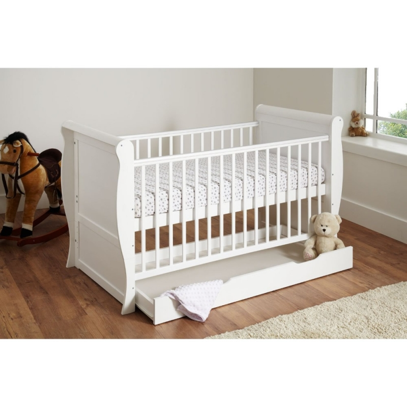 Image of Kiddies Kingdom Sleigh Cot Bed With Underbed Drawer-White