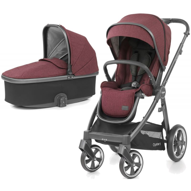BabyStyle Oyster 3 City Grey Finish 2in1 Pram System Berry