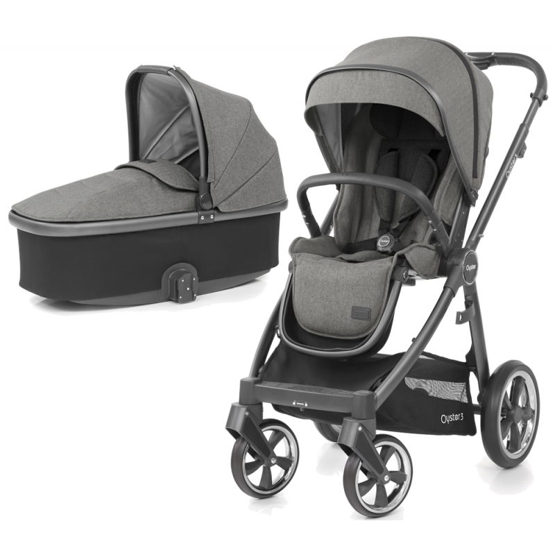 BabyStyle Oyster 3 City Grey Finish 2in1 Pram System-Mercury
