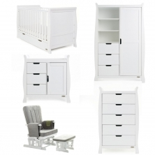 Obaby Stamford Classic Sleigh 5 Piece Furniture Roomset-White
