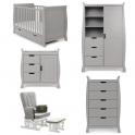 Obaby Stamford Classic Sleigh 5 Piece Furniture Roomset-Warm Grey