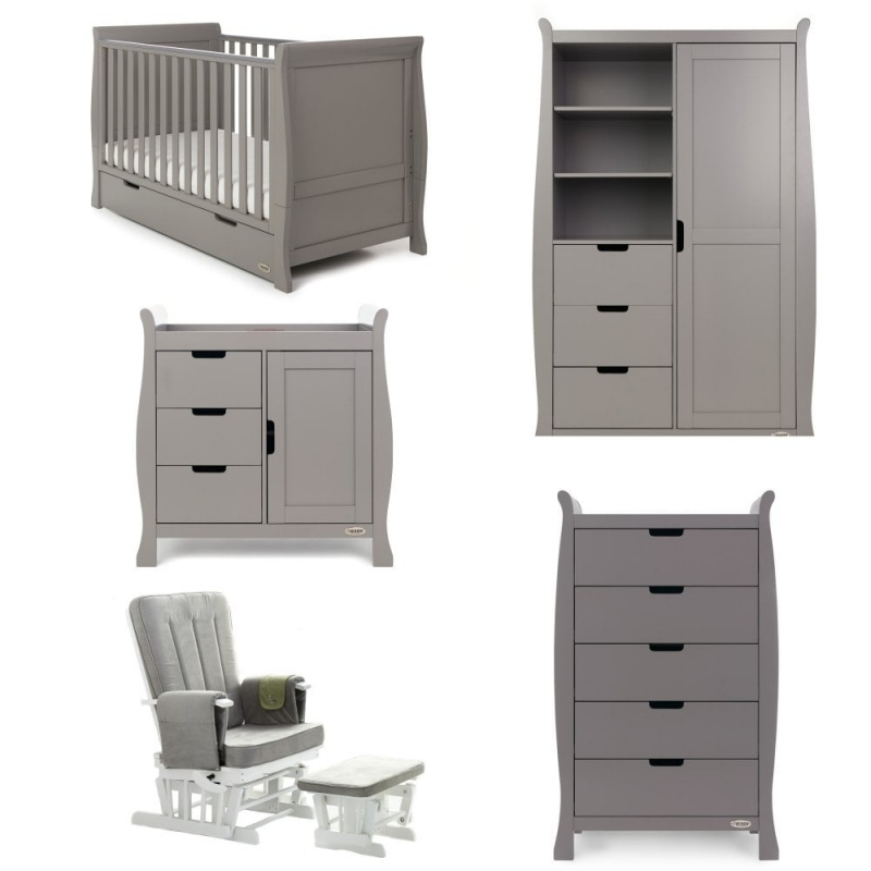 Obaby Stamford Classic Sleigh 5 Piece Furniture Roomset-Taupe Grey