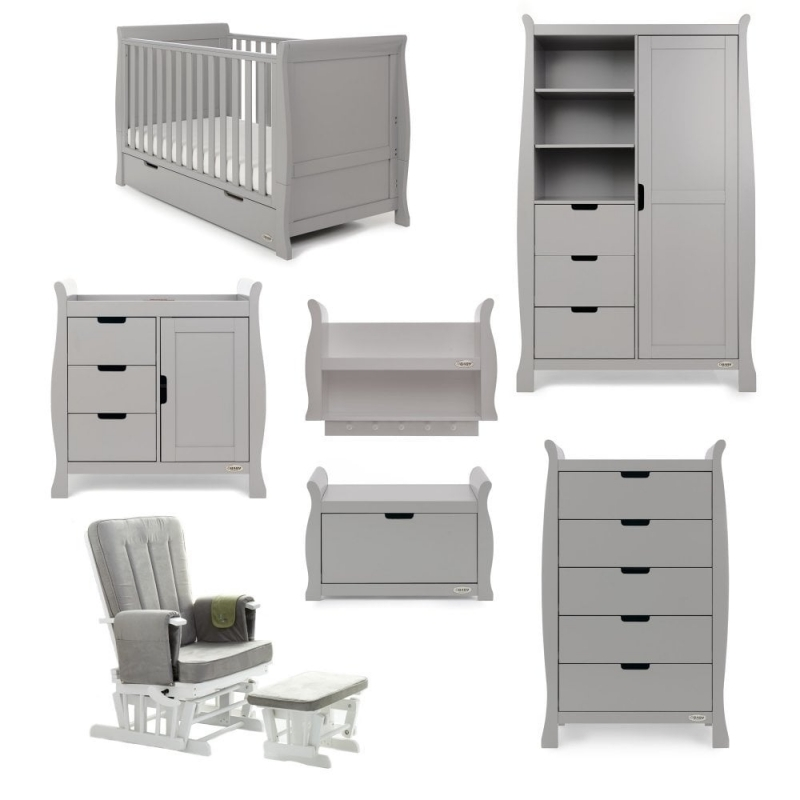 Obaby Stamford Classic Sleigh 7 Piece Furniture Roomset-Warm Grey