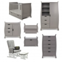 Obaby Stamford Classic Sleigh 7 Piece Furniture Roomset-Taupe Grey