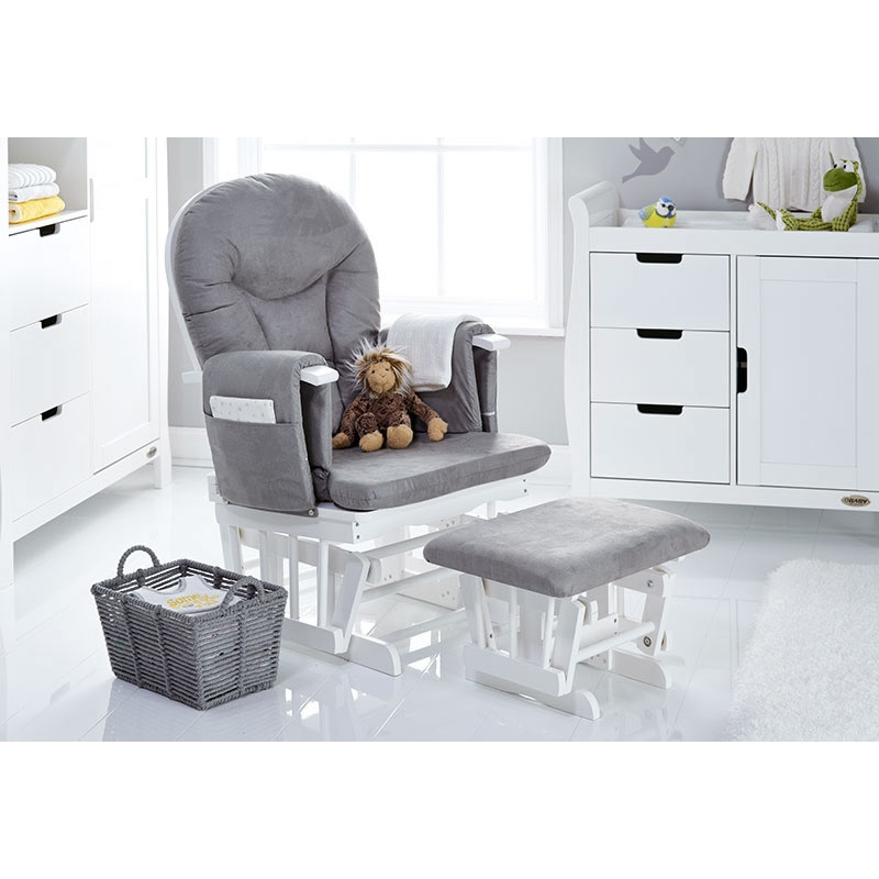 Obaby Reclining Glider Chair And Stool White With Grey Cushion