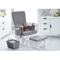 Obaby Deluxe Reclining Glider Chair and Stool-White with Grey Cushion