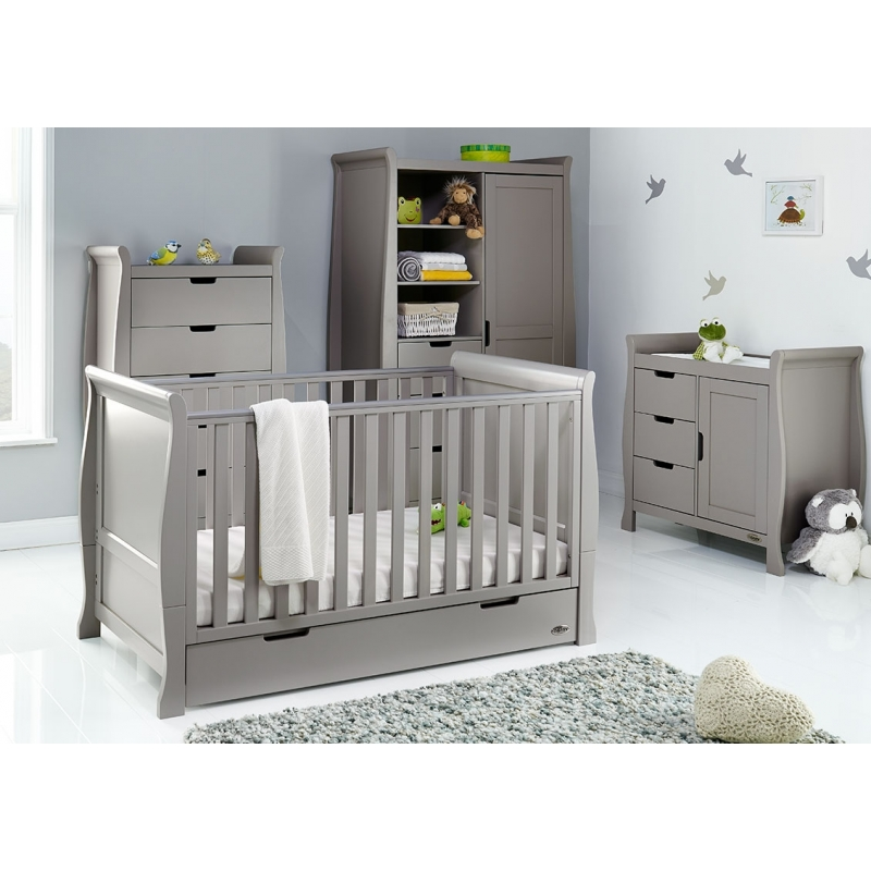 Obaby Stamford Classic Sleigh 4 Piece Furniture Roomset-Taupe Grey