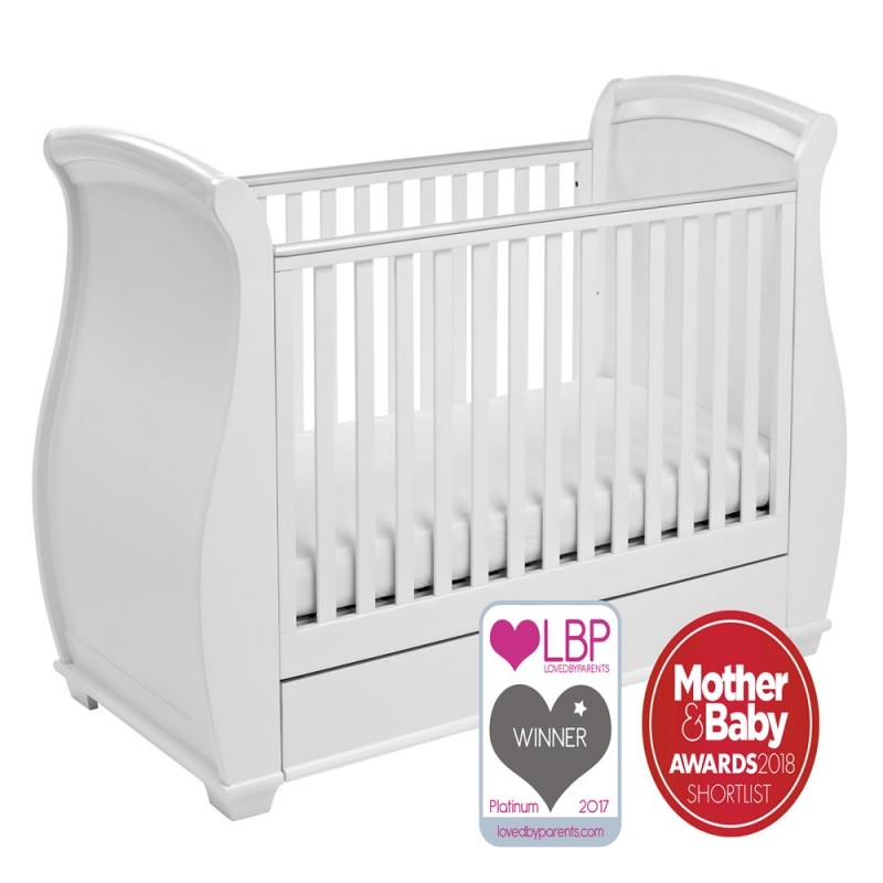 Image of Babymore Bel Sleigh DROPSIDE Convertible Cot Bed-White