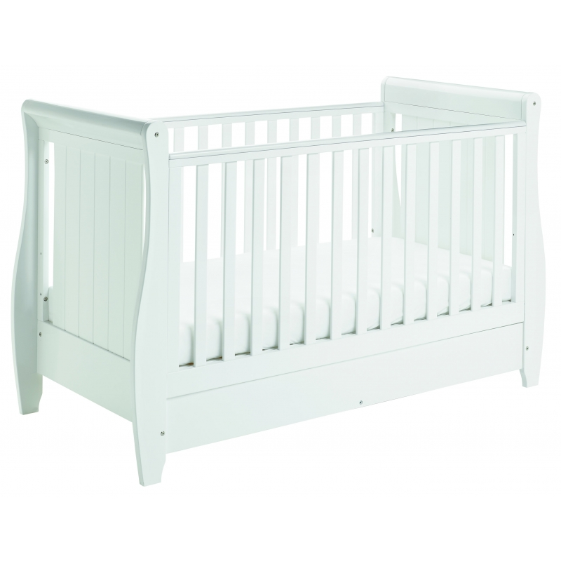 Babymore Stella Sleigh DROPSIDE Convertible Cot Bed-White
