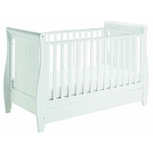 Babymore Stella Sleigh DROPSIDE Convertible Cot Bed-White + FREE Premium Dual Core Pocket Mattress Worth £200!
