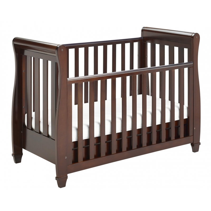 Babymore Eva Sleigh DROPSIDE Convertible Cot Bed-Brown