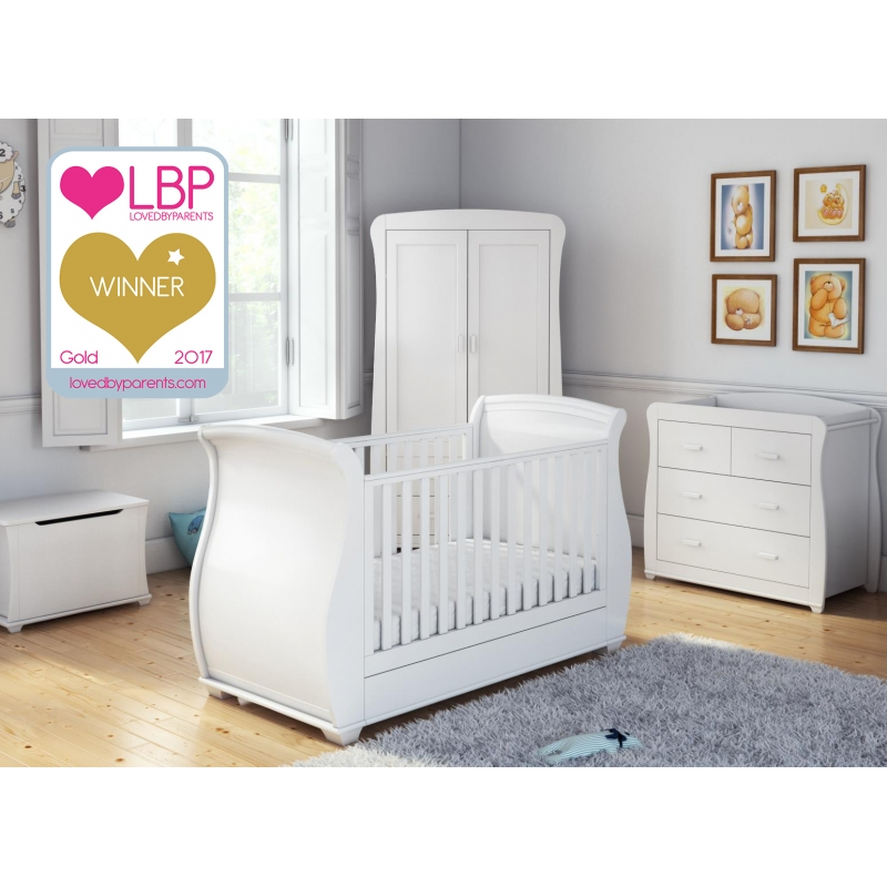 Babymore 5 Piece Bel Room Set with Mattress-White