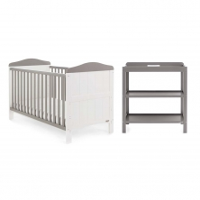 Obaby Whitby 2 Piece Furniture Set-White with Taupe Grey