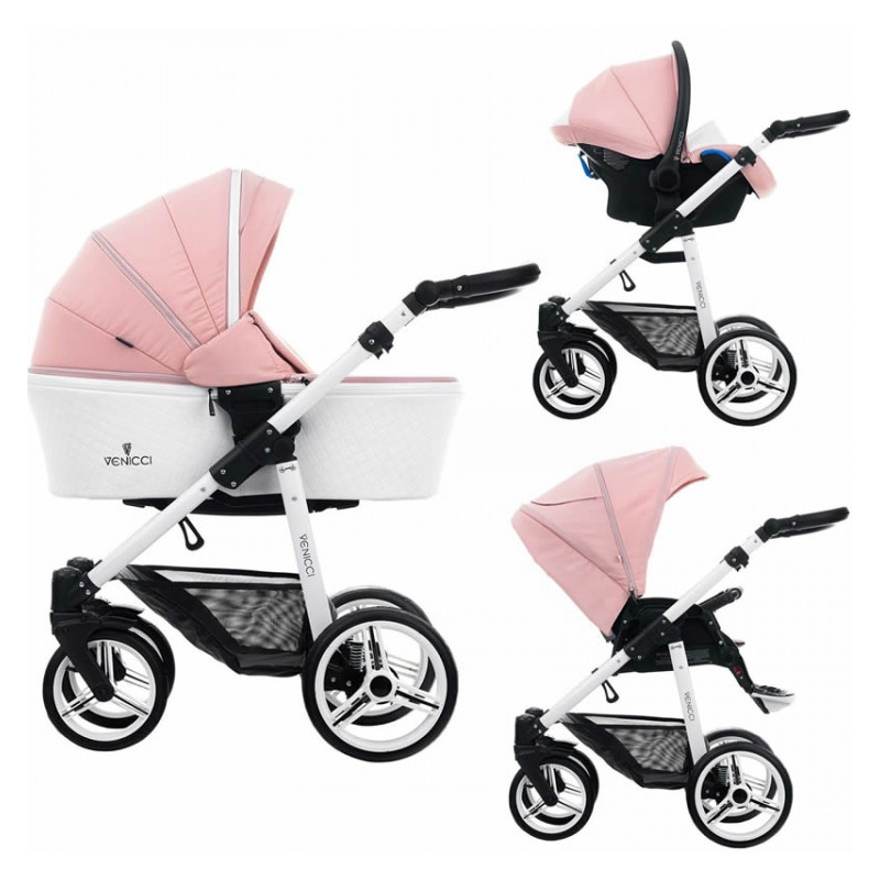 Venicci Pure White Chassis 3in1 Travel System-Rose