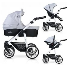 Venicci Soft White Chassis 3in1 Travel System-Light Grey + FREE Winter Gloves & Changing Mat!