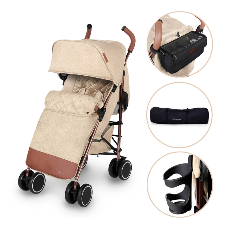 Ickle Bubba Discovery PRIME Rose Gold Chassis Pushchair-Sand