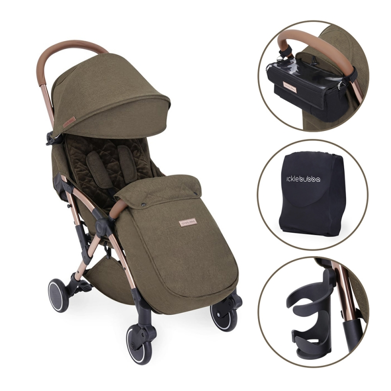 Ickle Bubba Globe Prime Rose Gold Chassis Pushchair-Khaki
