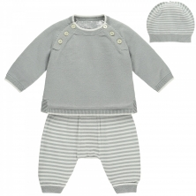 Emile et Rose Marvin Knit Jumper Two Piece Set-Grey/White
