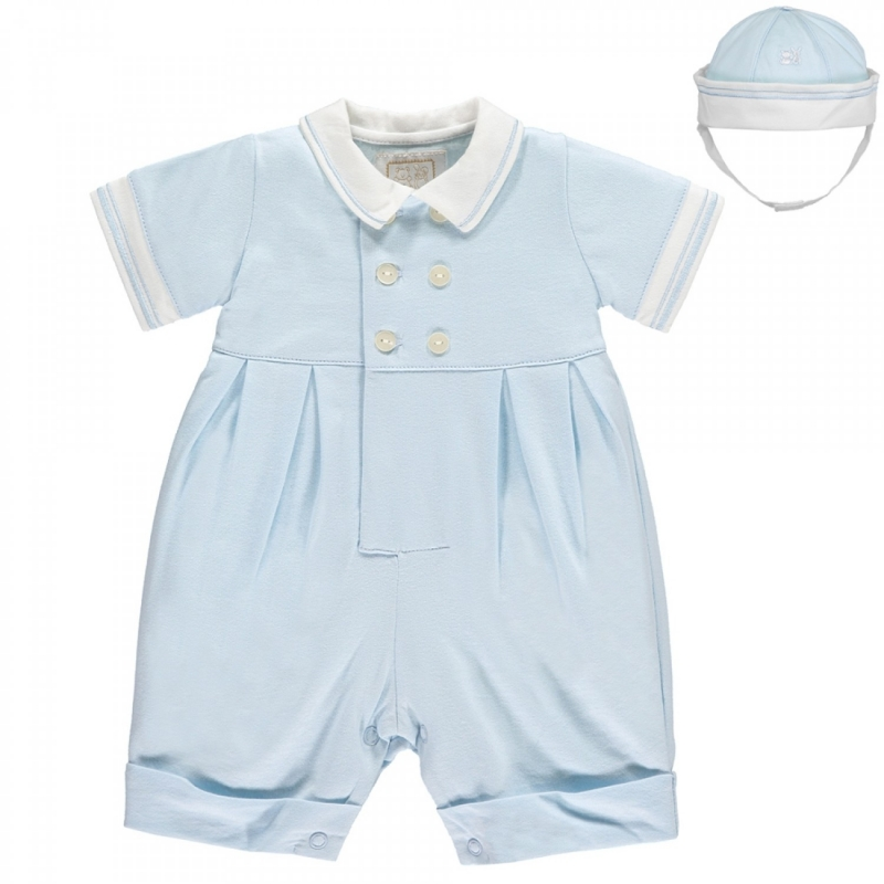 Emile et Rose Marcus Baby Boys Romper with Hat-Blue