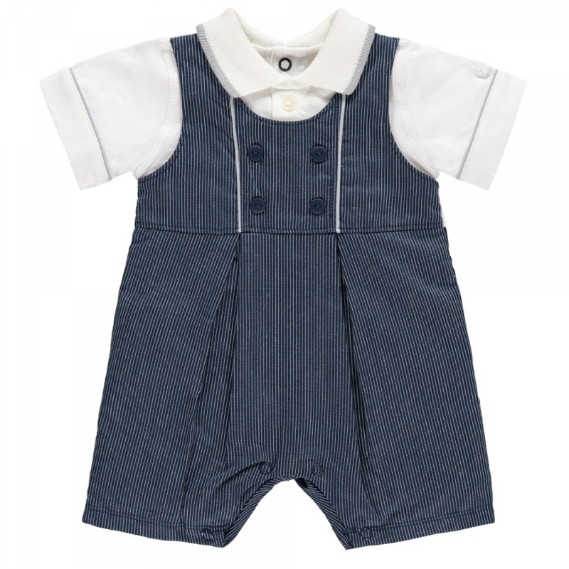 Emile et Rose Maxwell Boys Striped Shortie-Navy