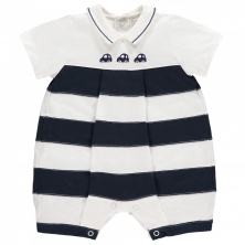 Emile et Rose Monty Boys Striped Car Romper-Navy
