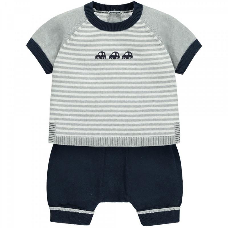 Emile et Rose Matthew Boys Striped Car Knit Outfit-Navy