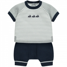 Emile et Rose Matthew Boys Striped Car Knit Outfit-Navy