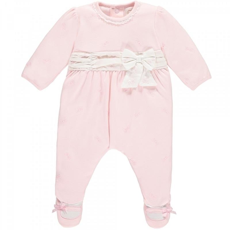 Emile et Rose Macey Girls Bow Design Babygrow-Pink