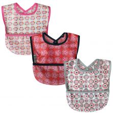 SillyBillyz Wipe Clean Pocket Bib 3PK-Girl