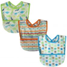 SillyBillyz Wipe Clean Pocket Bib 3PK-Boy