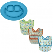 SillyBillyz Wipe Clean Pocket Bib + Ezpz Mini Mat-Blue
