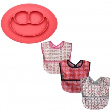 SillyBillyz Wipe Clean Pocket Bib + Ezpz Mini Mat-Coral