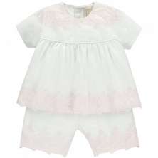 Emile et Rose Melinda Baby Girls White and Pink Outfit