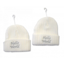 Sheldon Baby Girls Knitted Hat-Hello World