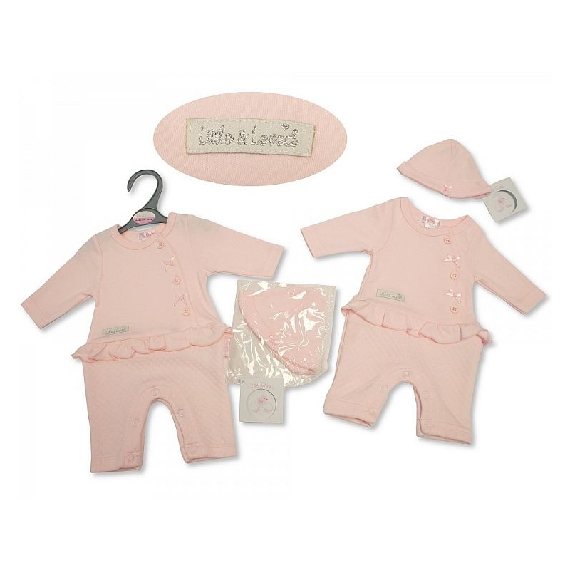 Sheldon Premature Baby Girls Open Feet All in One with Hat-Little and Loved