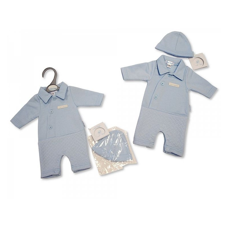 Sheldon Premature Baby Boys Open-Feet All in One with Hat-Little and Handsome