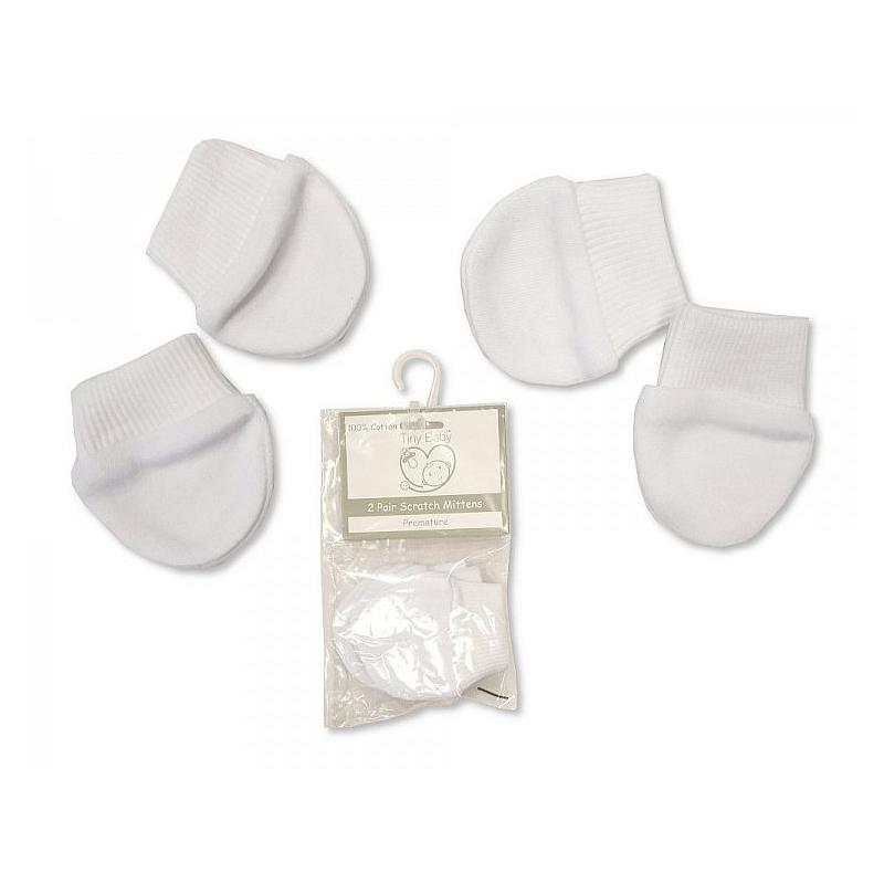 Sheldon Premature Baby Scratch Mittens Packs Of 2 Pairs White