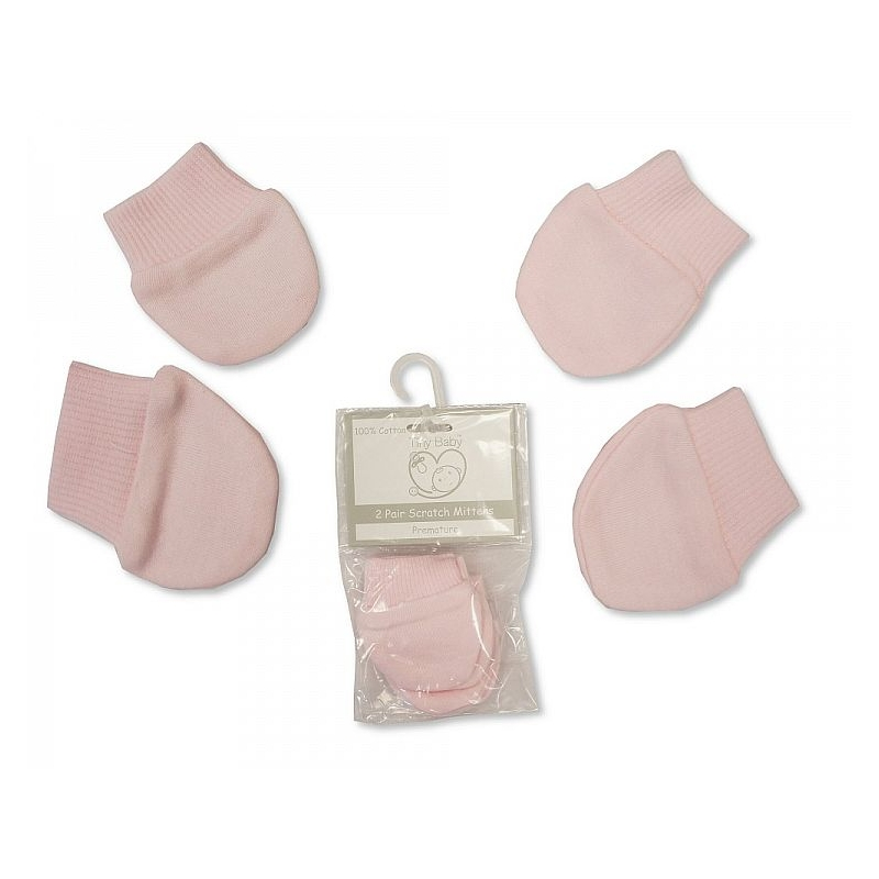 Sheldon Premature Baby Scratch Mittens Packs Of 2 Pairs Pink