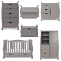 Obaby Stamford Luxe Sleigh 5 Piece Furniture Room Set-Taupe Grey