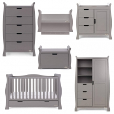 Obaby Stamford Luxe Sleigh 7 Piece Furniture Room Set-Taupe Grey