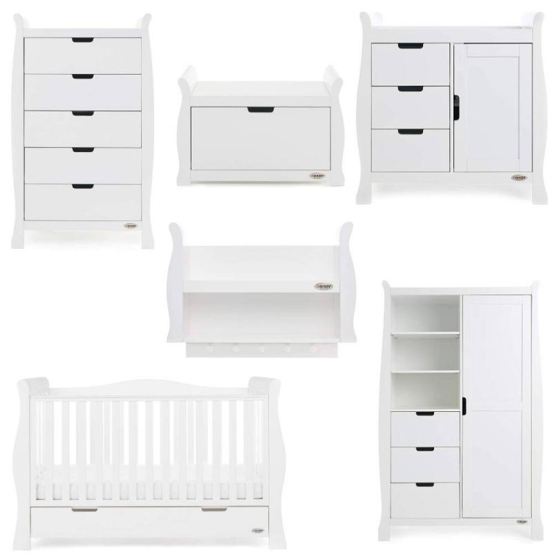 Obaby Stamford Luxe Sleigh 7 Piece Funiture Room Set-White